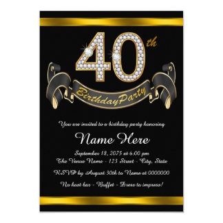 Black Gold 40th Birthday Party Card