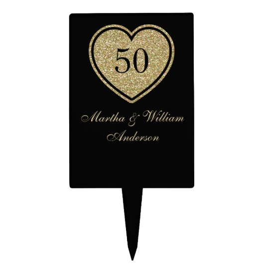 black and gold wedding cake topper black amp gold 50th anniversary cake topper zazzle 11815