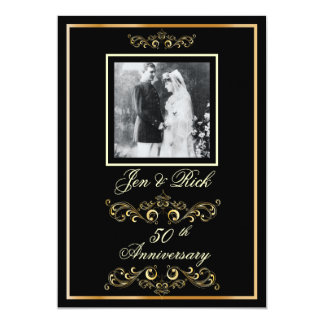 Black + Gold 50th Anniversary, Gold Swirls Photo Invitations