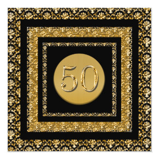 "Black gold 50th birthday ""any event"" 5.25x5.25 square paper invitation card"