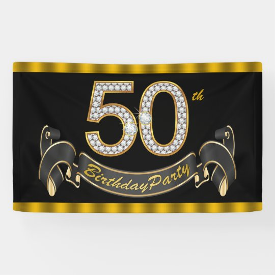 black gold 50th birthday party banner zazzle com