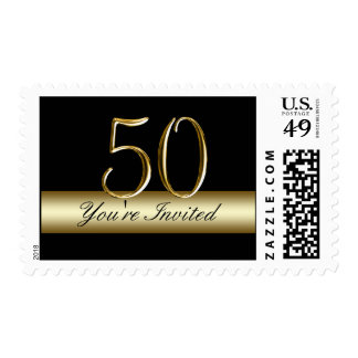 Black Gold 50th Birthday Party Postage