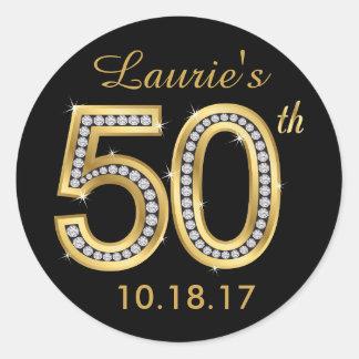 Black & Gold 50th Birthday Stickers | Diamond