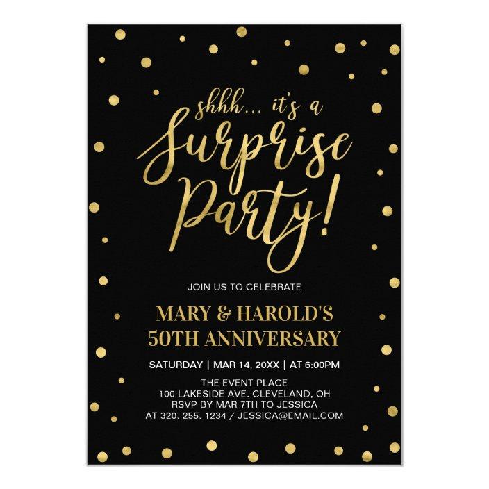 Black Gold 50th Surprise Wedding Anniversary Invitation Zazzle Com