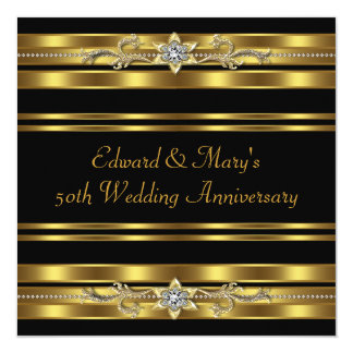 Black Gold 50th Wedding Anniversary Card