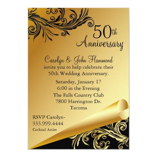Wedding Anniversary Invitations: Black & Gold 50th Wedding Anniversary Invitation