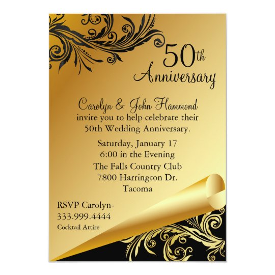 Black gold 50th wedding anniversary invitation zazzle - Wedding anniversary invitations ...