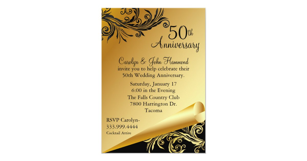 Fiftieth Wedding Anniversary Invitations: Black & Gold 50th Wedding Anniversary Invitation
