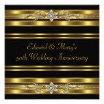 Black Gold 50th Wedding Anniversary Personalized Invite