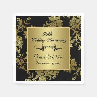 Black, Gold 50th Wedding Anniversary Napkins Disposable Napkins