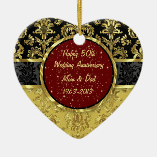 Black & Gold 50th Wedding Anniversary Ornament Christmas Tree Ornaments