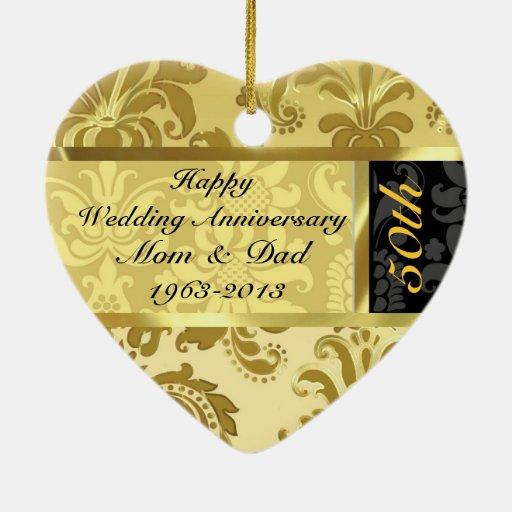 Black & Gold 50th Wedding Anniversary Ornament | Zazzle