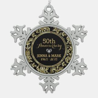 Black & Gold 50th Wedding Anniversary Ornament 2a