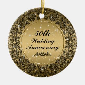 Black & Gold 50th Wedding Anniversary Ornament 3