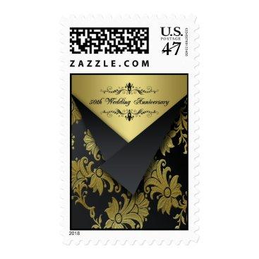 Black, Gold 50th Wedding Anniversary Postage