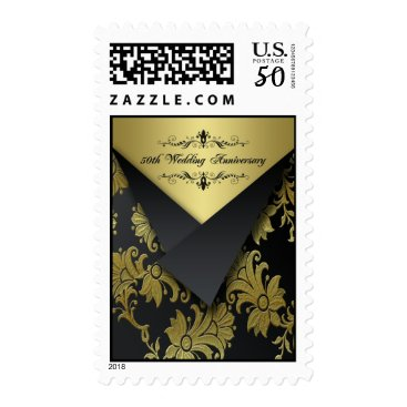 Black, Gold 50th Wedding Anniversary Postage