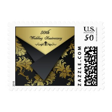 Black, Gold 50th Wedding Anniversary Postage 2
