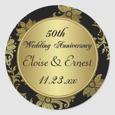 Black, Gold 50th Wedding Anniversary Sticker