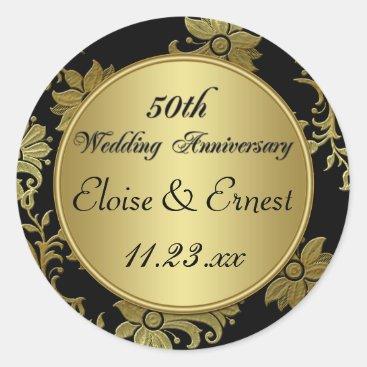 Black, Gold 50th Wedding Anniversary Sticker