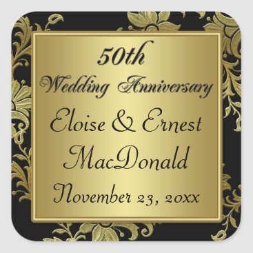 Black, Gold 50th Wedding Anniversary Sticker 2