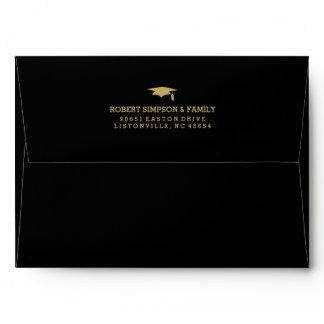Black & Gold 5x7 Graduation Invite Envelope