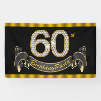 Black Gold 60th Birthday Party Banner