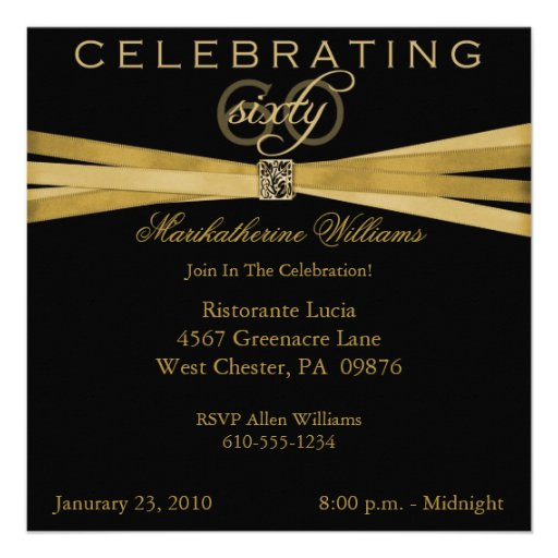 Black & Gold 60th Birthday Party Invitations