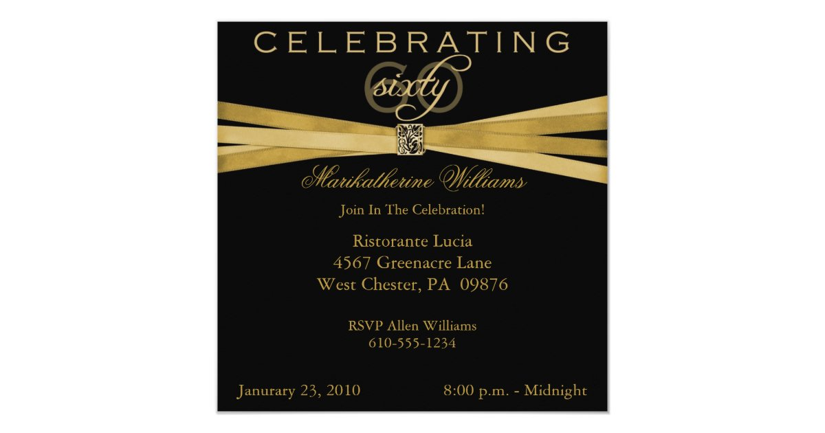 Black Amp Gold 60th Birthday Party Invitations Zazzle