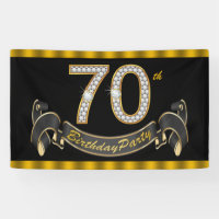 Black Gold 70th Birthday Party Banner