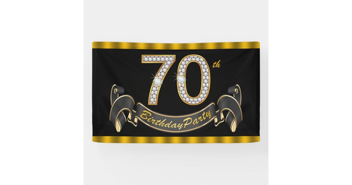 Black Gold 70th Birthday Party Banner Zazzle Com