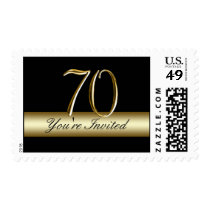Black Gold 70th Birthday Party Postage
