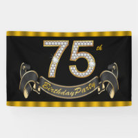 Black Gold 75th Birthday Party Banner