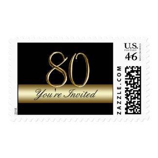 Black Gold 80th Birthday Party Postage zazzle_stamp