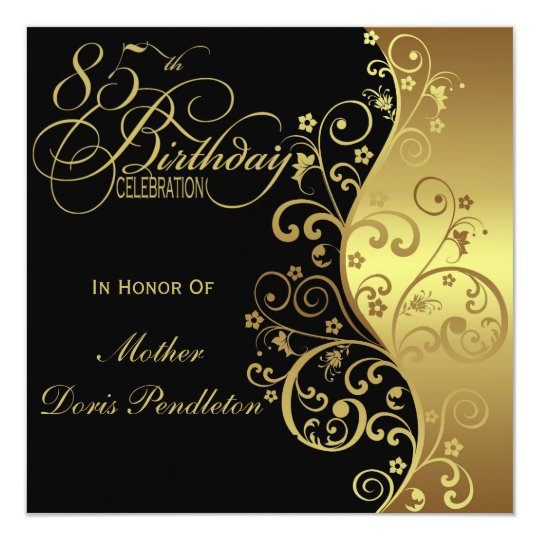 Black Gold 85th Birthday Party Invitation