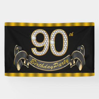 Black Gold 90th Birthday Party Banner