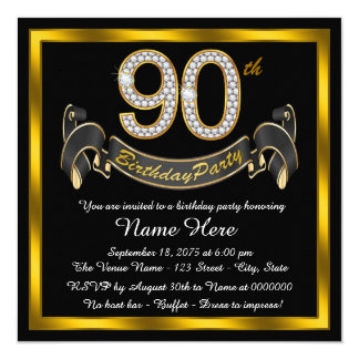 Black Gold 90th Birthday Party Card