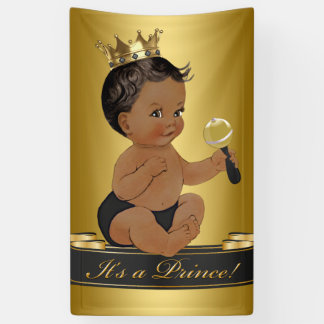 black gold african american prince boy baby shower banner