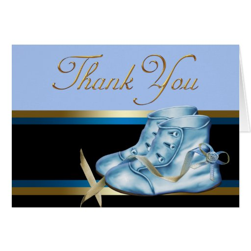 Black Gold and Blue Baby Shoe Thank You Stationery Note Card