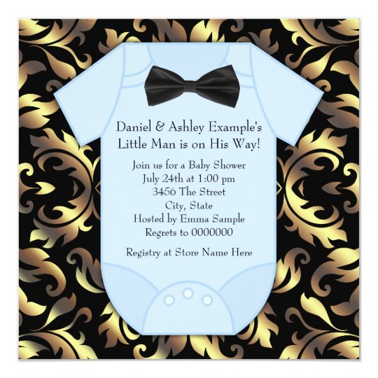 Black Gold and Blue Damask Baby Boy Shower Card