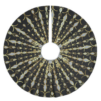 Black Gold And Diamonds Glitter Brushed Polyester Tree Skirt