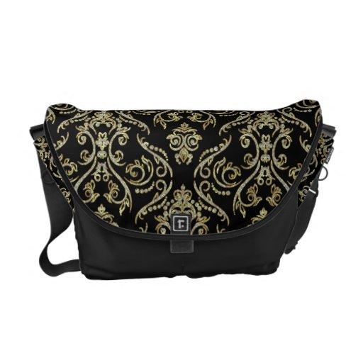 Black Gold And Diamonds Pattern Floral Damasks Courier Bag