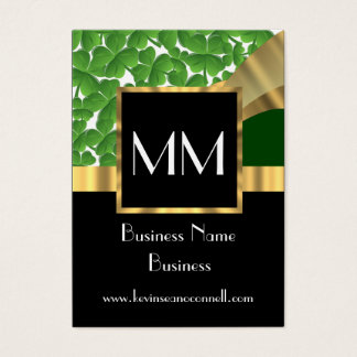 Black gold and green monogram business card