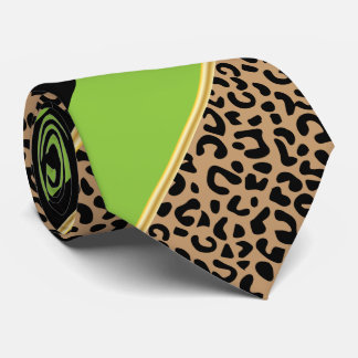 Black, Gold and Lime Diagonal Stripe Leopard Print Tie