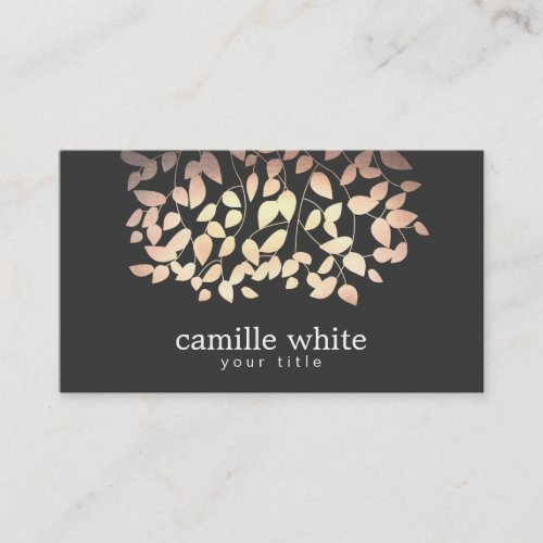 Black  Gold and Pink Foil Look Whimsical Leaves Business Card