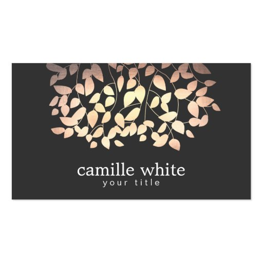 Black & Gold and Pink Foil Look Whimsical Leaves Business Card Templates