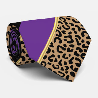 Black, Gold and Purple Diagonal Stripe Leopard Tie