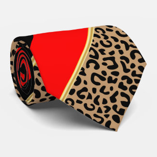 Black, Gold and Red Diagonal Stripe Leopard Tie