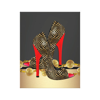 Black Gold and Red Zebra High Heel Shoes Canvas Print