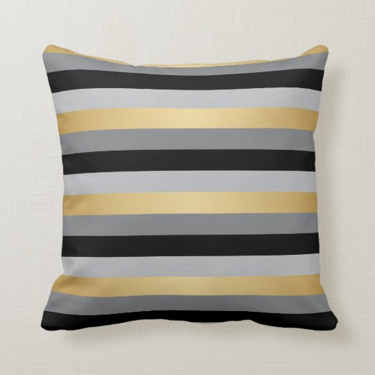 Black And Silver Decorative Pillows : Black, Gold and Silver Stripes Throw Pillow Zazzle.com