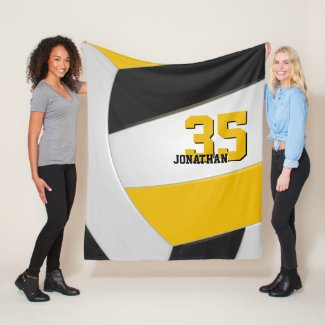 black gold and white boys girls volleyball custom fleece blanket